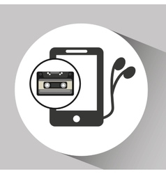 Music cassette headphones vintage background vector