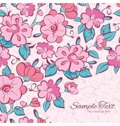 Pink blue kimono flowers frame corner vector