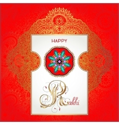 Red happy rakhi greeting card for indian holiday vector