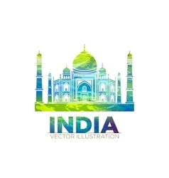 Retro world wonder of taj mahal palace in india vector