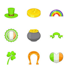 Saint patrick day icons set cartoon style vector