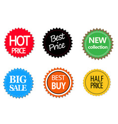 Set of commercial sale stickers elements and vector