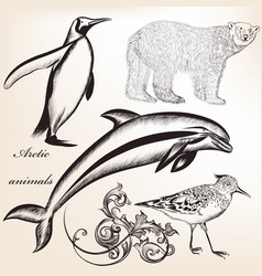 Set of hand drawn detailed animals for design vector