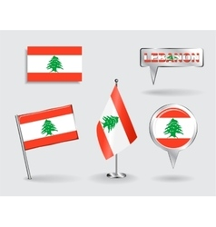 Set of Lebanese pin icon and map pointer flags vector image