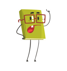 speaking book cartoon humanized character pointing vector image