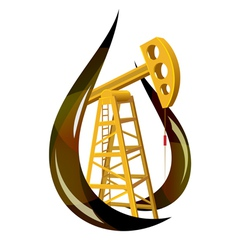 Stylized drop of fossil oil and the pump inside vector image vector image