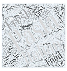 The different pastas in italian food word cloud vector