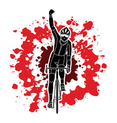 The winner bicycle riding front view vector