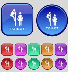 Toilet icon sign a set of twelve vintage buttons vector