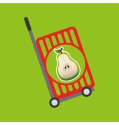 Trolley shop juicy pear fruit vector