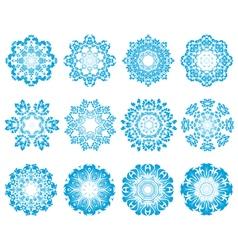 Twelve Circle Snowflakes vector image vector image