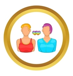 Two girls lesbians icon vector