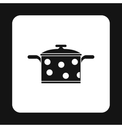Black saucepan with white dots icon simple style vector