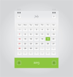 July 2013 Calendar vector image