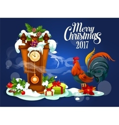 Merry christmas card with rooster and gift box vector