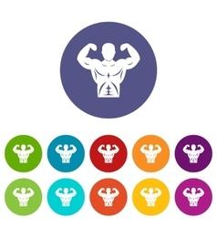 Athletic man torso set icons vector