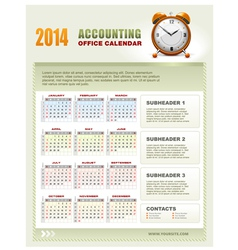 2014 accounting office calendar vector