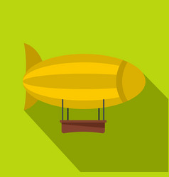 Yellow airship icon flat style vector