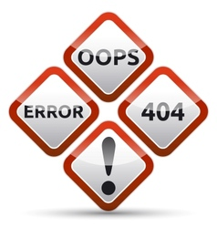 Error 404 warning sign vector