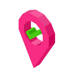 Pink geolocation symbol with check mark inside vector