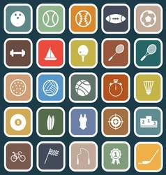 Sport flat icons on blue background vector image