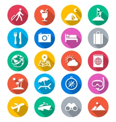 Traveling flat color icons vector image