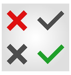 Approved and rejected icon in flat style vector