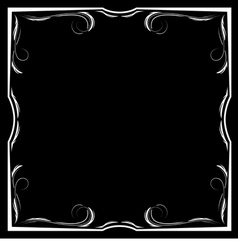 Floral white frame on a black background vector