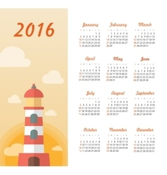 Calendar for 2016 with lighthouse sunset vector