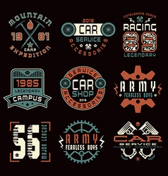 Set of sports car service and military emblems vector