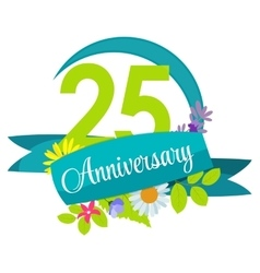 Cute nature flower template 25 years anniversary vector