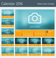 Line calendar for 2016 year design print template vector