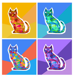 abstract polygonal colored cats vector image vector image