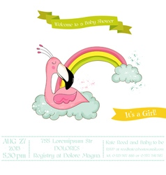 Baby shower card - baby flamingo girl on rainbow vector