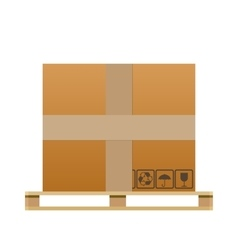 Big brown closed carton delivery box vector image