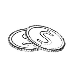Blurred silhouette stack coins with dollar symbol vector