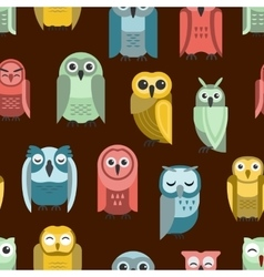 Cartoon owl seamless pattern vector image vector image