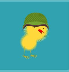 chick in military helmet small chicken little vector image vector image