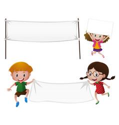 Children holding white cloth vector