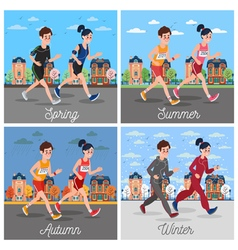 City Marathon Runners Man and Woman Running vector image