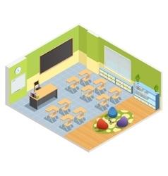 Classroom interior isometric poster vector