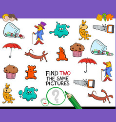 find two identical pictures activity game vector image