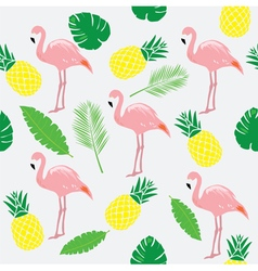 Flamingos pink palms vector