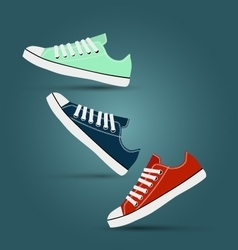 Girl teen red blue mint gymshoes vector