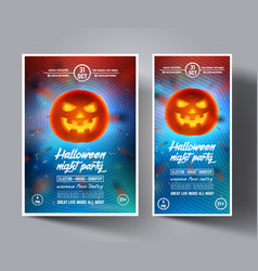halloween night party flyerleafletcoversbanners vector image vector image