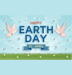 happy earth day cute background vector image vector image