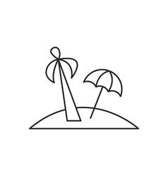 Island with palm icon outline vector