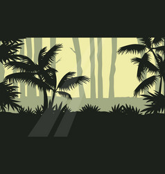Jungle with tree silhouette beauty landscape vector