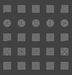 labyrinth linear icons vector image vector image
