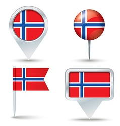 Map pins with flag of Svalbard vector image